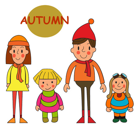 Set Kids in autumn. Cute little girls and boys in autumn. Autumn kids. Autumn season. Happy kids in autumn. Vector set on a white background.