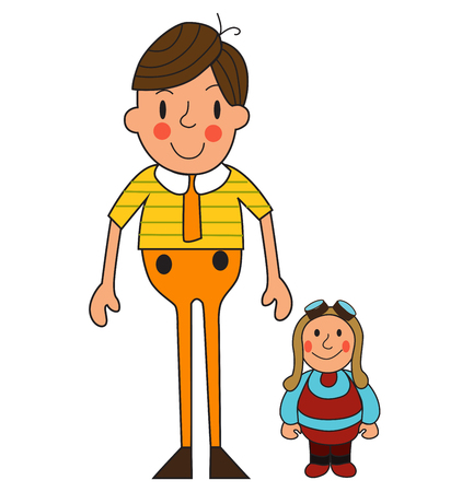 Two boys. Illustration of a cute little boy and toy. Vector.