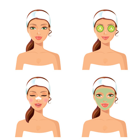 spa set of 4 women with cosmetic face mask.Spa procedure.Woman getting spa treatment. Spa vector. Vector illustration of a beautiful woman with facial mask care. Illustration
