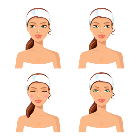 sanatorium: Spa set of 4 women with in different face: looking left and right, closing her eyes, girl relaxing. Graphic design element for spa or beauty salon poster. Vector.Face spa concept. Spa icon.