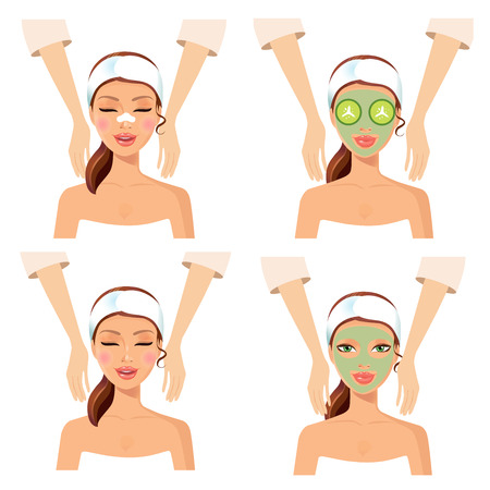 Spa set of 4 women relaxing at spa salon with cosmetic face masks. Face and body massage concept. Woman getting spa treatment, therapy. Girl relaxing. Clean skin, fresh face massage, body wrap.