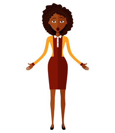 african teacher: Shocked African young woman isolated on white background. Vector.