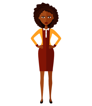 African american woman. Worried business girl. Upset banker girl. Nervous manager woman. Frowning young woman. Confused woman. Emotional curly cutout character.Vector.