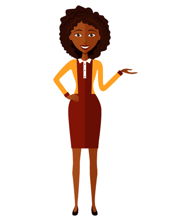 African business woman presents something. Presenting and smiling african young woman.Vector.