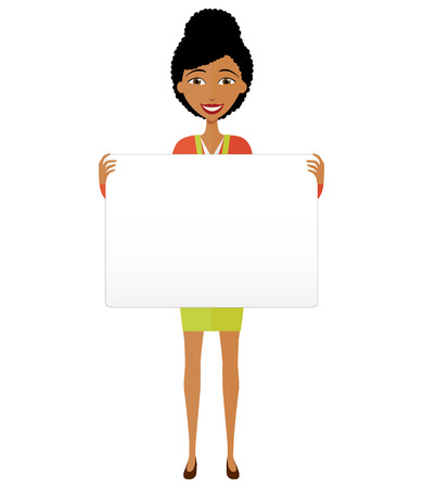 Happy African American business woman holding sign or banner isolated on white background. Vector.