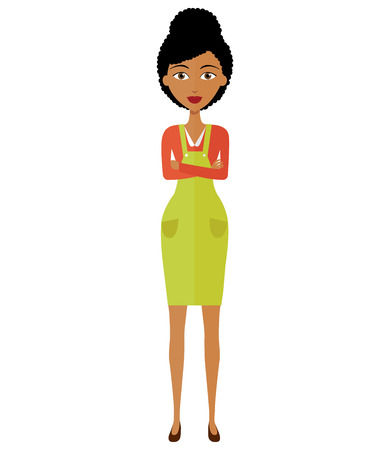 African business woman with arms crossed isolated on white background. Vector.