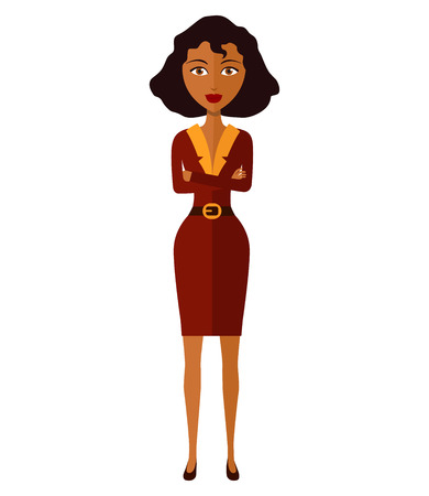 african teacher: African business woman with arms crossed isolated on white background. Vector.