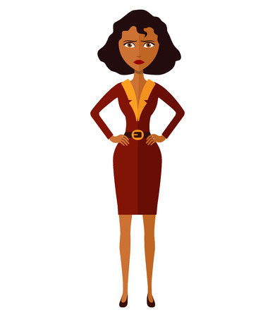 African american worried woman. Angry business girl. Nervous banker girl. Manager woman. Frowning young woman. Confused woman. Emotional curly cutout character