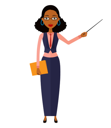 tutor: African teacher with a pointer. Young African American business woman presenting something. Tutor character. Vector.