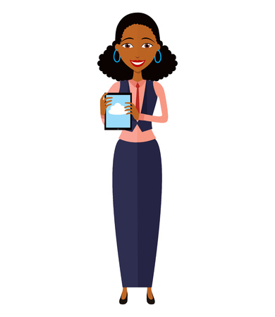 woman tablet: Happy African American woman character with tablet.