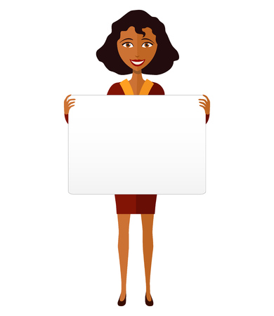 business woman: African American manager woman holding sign or banner isolated on white background. Vector.