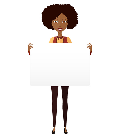 African American girl holding sign or banner isolated on white background. Vector.