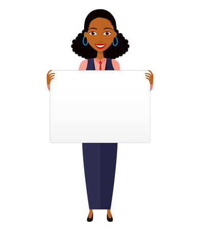 African business woman holding sign or banner isolated on white background. Vector.