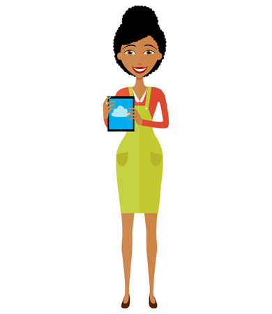 African American woman character with tablet. Pleasantly smiling business girl. Vector Illustration