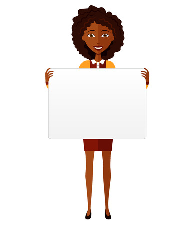 African American woman holding sign or banner isolated on white background. Vector. Illustration