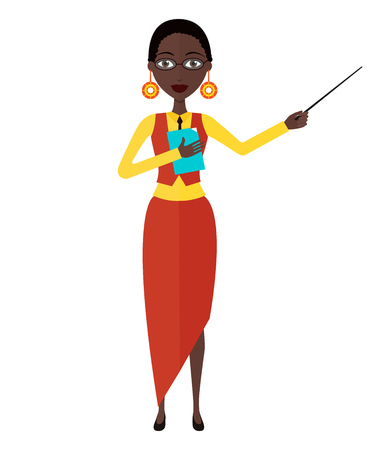 African American teacher with a pointer. Young African American business woman presenting something. Tutor character flat cartoon vector illustration