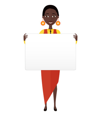 African American business woman holding sign or banner isolated on white background. Vector.