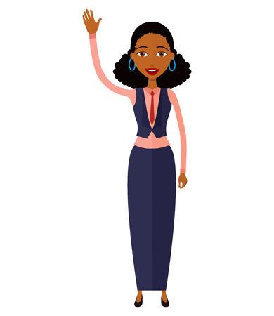african american woman waving her hand cartoon-vector