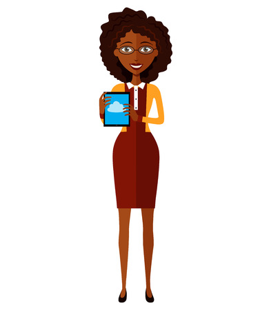 Happy African American business woman character with tablet flat cartoon vector illustration