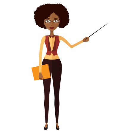 tutor: African American teacher with a pointer. Young African American business woman presenting something. Tutor character flat cartoon vector illustration.