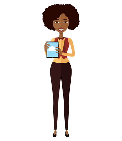 woman tablet: Smiling business young girl standing with tablet. Happy African American woman character with tablet.