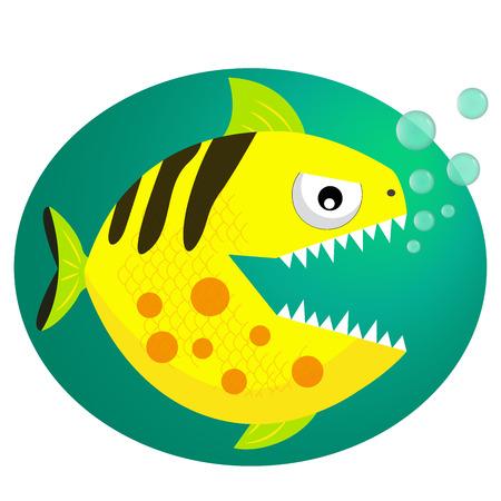 gills: piranha with bubbles. Piranha fang. Cute dangerous piranha. vector