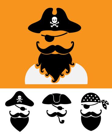 skull with crossed bones: Pirate head symbols with skull and crossed bones vector