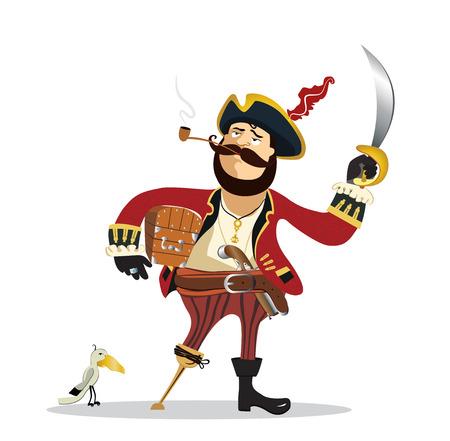 calavera caricatura: historieta del pirata. Vector
