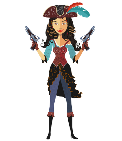 girl with gun: pirate girl with powder gun isolated on a white background-Vector