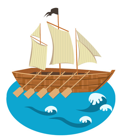 Sailing ship with oars vector