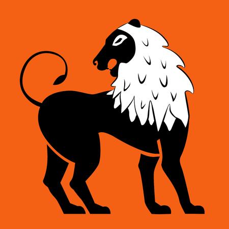 Stylized black lions. Lion silhouette. Vector.