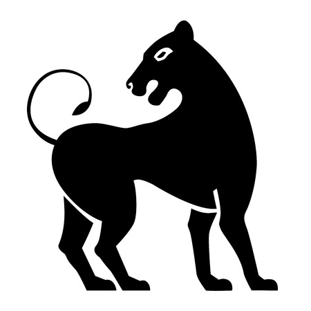 lioness: Stylized black lioness. Lion silhouette. Vector isolated on a white background.