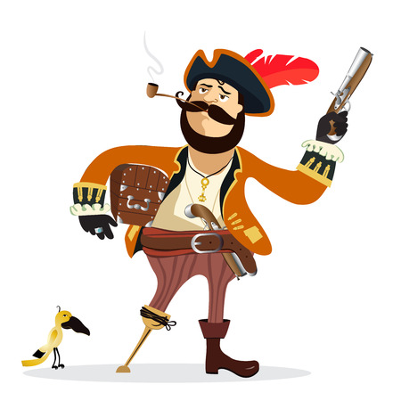 Illustration of cartoon pirate vector Illustration