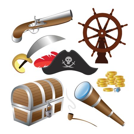 esp: A vector illustration of pirate icon sets