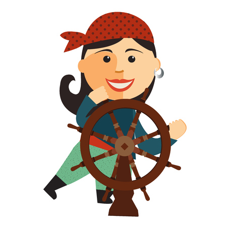pirate girl: pirate girl at the rudder flat cartoon vector illustration. Eps10. Isolated on a white background.