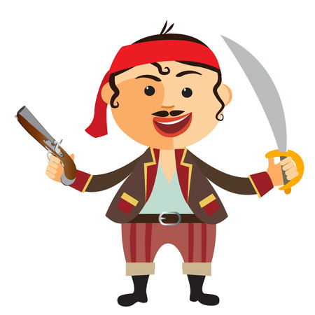 pirate with pistol isolated on a white background.Vector.