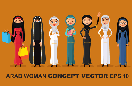 Set of different standing arab women in the traditional muslim arabic clothing isolated on white background in flat style. Illustration