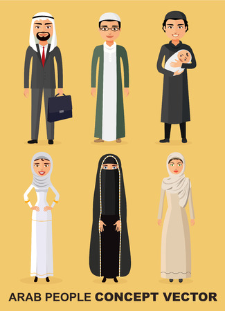 niqab: Family concept. Set of cartoon different arab people in flat style. Muslim people.Saudi arab people characters stand set in flat style Illustration