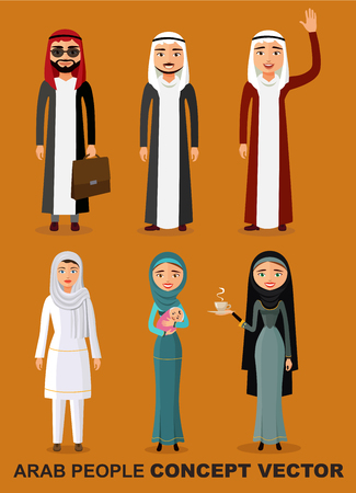 Saudi arab people characters stand set in flat style isolated on white background. Different arabic  man and woman smiling characters in traditional clothing. Vector.