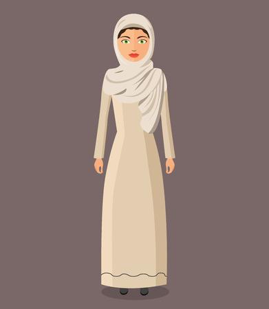 The beautiful Muslim woman in a hijab. arab people character. Illustration