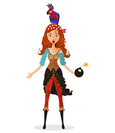pirate girl: Save Download Preview Funny surprised red-haired pirate girl holding a bomb with lit fuse with a parrot on his head isolated on white background - vector illustration. Eps10