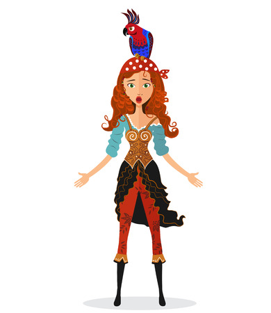 Funny surprised red-haired pirate girl holding a bomb with lit fuse with a parrot on his head isolated on white background - vector illustration. Eps10