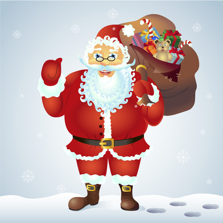 postcard box: Santa Claus giving thumb up near sack full of gifts isolated on white background. Santa Claus show ok vector. Illustration