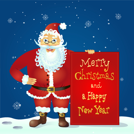 Santa Claus standing with christmas greetings banner in arm vector illustration