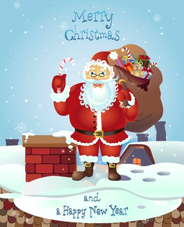 Santa Claus Holding a Candy Cane candy and with a bag of gifts in front winter background. Vector Illustration