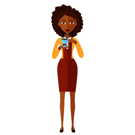 businesswoman standing: african happy businesswoman standing and drinking coffee
