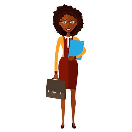 spectacled: Spectacled African american  business woman. Banker.Bespectacled business-lady ready for work flat cartoon vector illustration. Eps10. Isolated on a white background.
