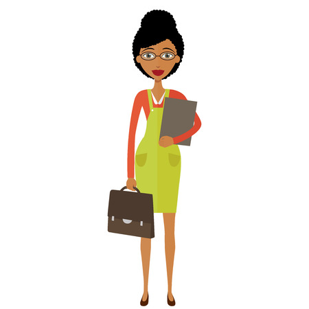 Spectacled good-looking African american  business-lady. Bespectacled business-woman ready for work flat cartoon vector illustration.