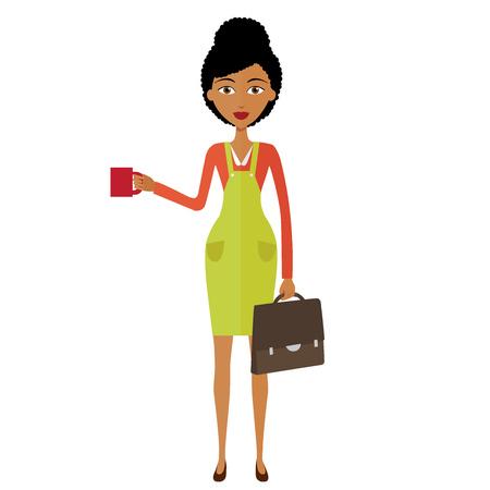 businesswoman standing: african american young businesswoman standing and drinking coffee