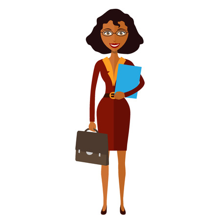 spectacled: Spectacled good-looking African american  business-lady. Bespectacled business-woman ready for work flat cartoon vector illustration. Eps10. Isolated on a white background. Illustration